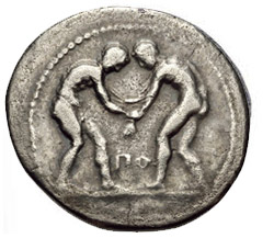 greek coins - wrestling ancient coins